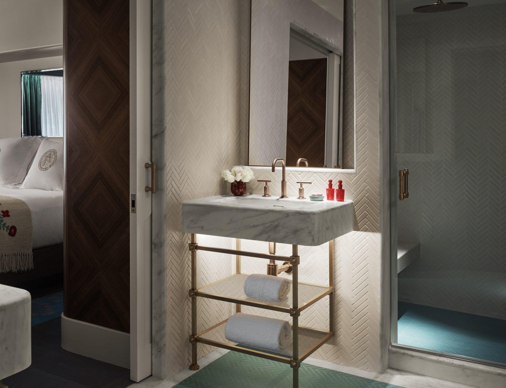 Carrara marble bathrooms